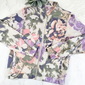 Juicy Couture Watercolor Floral Bomber Jacket